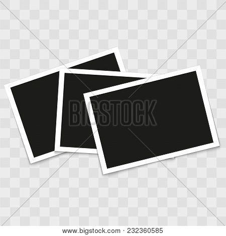 Set Of Vintage Photo Frames On Transparent Background. Vector