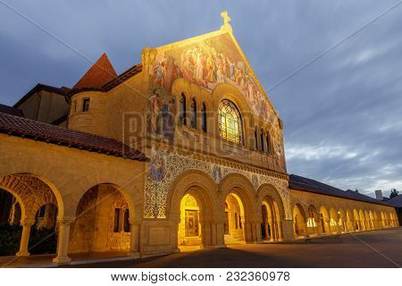 Stanford, California - March 19, 2018: North Façade Of The Stanford Memorial Church From The Main Qu