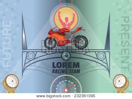 Vector Image Of Motorcycle Racing On The Arch Of The Bridge, Logo Presentation Title Race Team Silho
