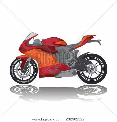 Vector Color Image Of A Racing Motorcycle, Bike Red Orange