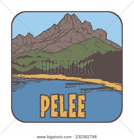 Vector Image Of A Volcano Pelee On The Background Of Nature And Sky.square Color Thumbnail Icon
