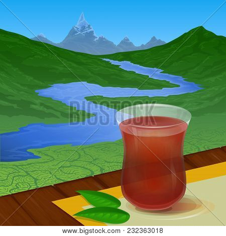 Colored Illustration Depicting A Glass Cup With Tea On A Background Of Tea Plantations, Blue River A