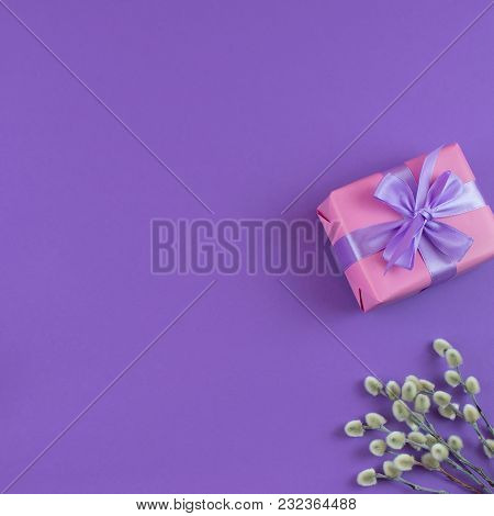 Gift Box Rose Design Satin Ribbon Bow Branches Catkins Background Ultraviolet Top View Flat Lay