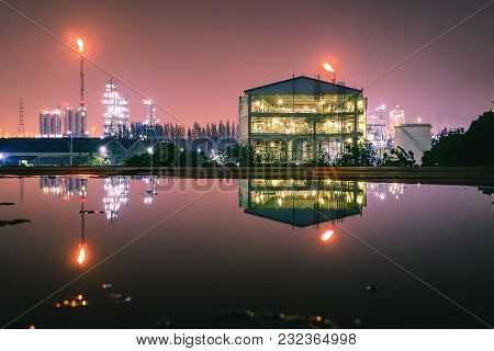Petrochemical Industry, Glitter Lighting Of Factory With Night