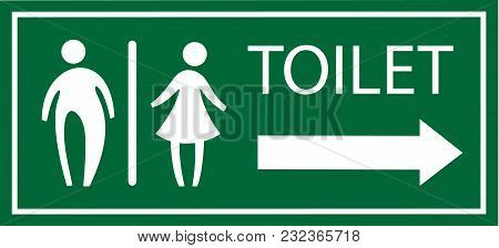 Green Toilet Signage Vector And Pointing Right