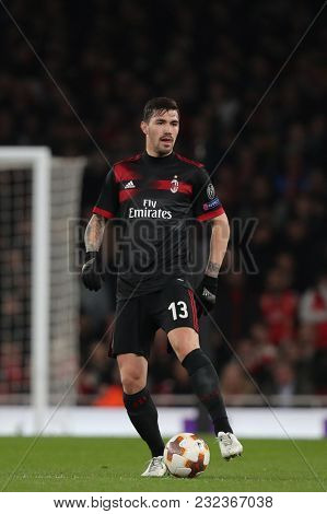 Alessio Romagnoli of AC Milan during the Europa League match between Arsenal and AC Milan at The Emirates Stadium on March 15, 2018 in London, United Kingdom.