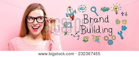Brand Building With Happy Young Woman Holding Her Glasses