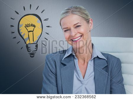 Digital composite of Business woman in chair with light bulb doodle against navy background
