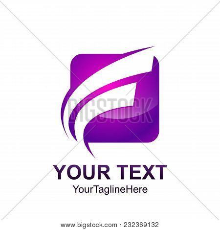 Initial Letter F Logo Template Colored Purple Curved Swoosh Square Design For Business And Company I