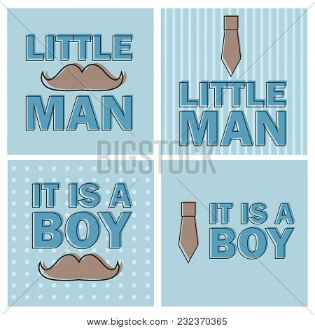 Baby Shower Boy - Little Man Invitation Template Vector -illustration - Set Of Four Cards