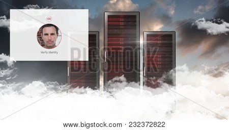 Digital composite of Identity App Interface in front of servers