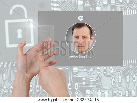 Digital composite of Hand holding glass screen and Identity Verify security App Interface