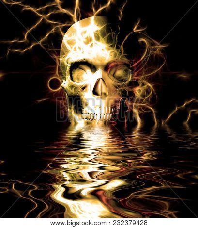 Skull reflected in water. 3D rendering