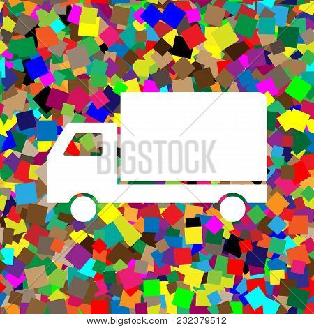 Delivery Sign Illustration. Vector. White Icon On Colorful Background With Seamless Pattern From Squ