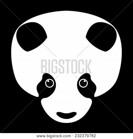 Panda Bear Head Face Vector Illustration Flat Style