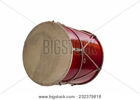Georgian Traditional Musical Instrument, Drum Red Colored Named Doli Lying On Its Side Close-up Isol