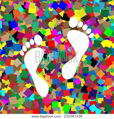 Foot Prints Sign. Vector. White Icon On Colorful Background With Seamless Pattern From Squares.