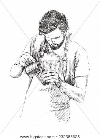 Man Making Coffee. Man With Hot Teapot Of Coffee In Hands. Hand Drawn Vector Sketch Illustration On