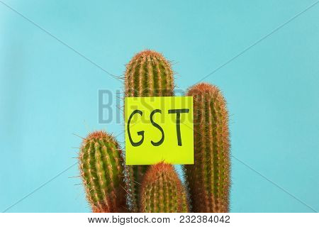 The Word Gst Tax On Goods And Services On A Prickly Cactus On A Blue Background
