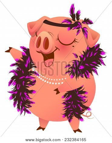 Pink Pig In Boa Necklet Sings Karaoke. Isolated On White Vector Cartoon Illustration