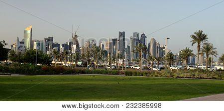 BIDDA PARK, Doha, Qatar - March 21, 2018: Panoramic view of the newly opened Bidda Park in the centre of Qatar's capital,