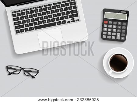 Office Desk, Workplace Desk Table With Laptop, Glasses, Notebook, Pencil, Smartphone, Coffee. Top An