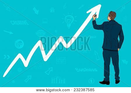Businessman Draws A Growing Schedule. Up Arrow