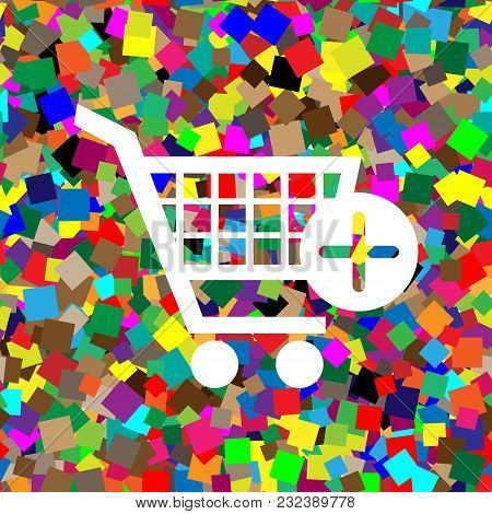 Shopping Cart With Add Mark Sign. Vector. White Icon On Colorful Background With Seamless Pattern Fr