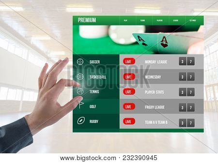 Digital composite of Hand touching a Betting App Interface