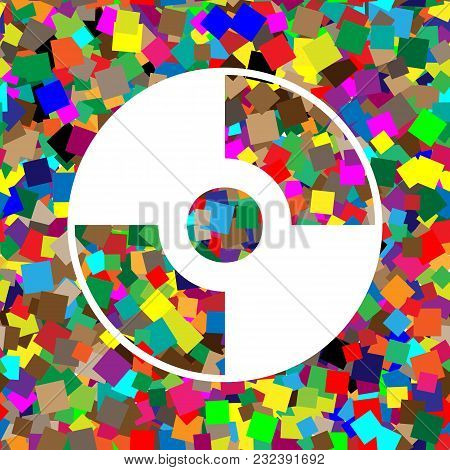 Cd Or Dvd Sign. Vector. White Icon On Colorful Background With Seamless Pattern From Squares.