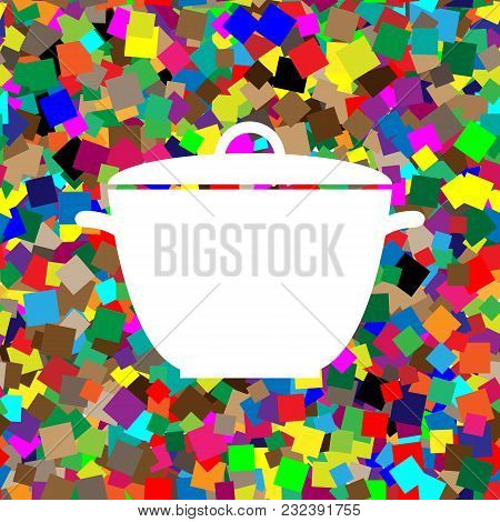Saucepan Simple Sign. Vector. White Icon On Colorful Background With Seamless Pattern From Squares.