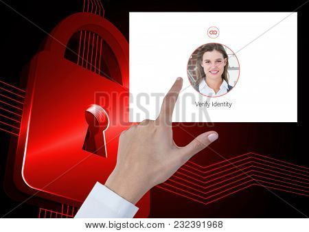Digital composite of Hand Touching Identity Verify security App Interface