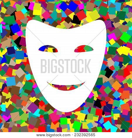 Comedy Theatrical Masks. Vector. White Icon On Colorful Background With Seamless Pattern From Square