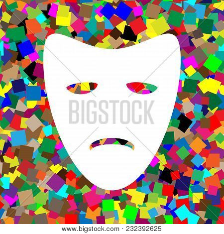 Tragedy Theatrical Masks. Vector. White Icon On Colorful Background With Seamless Pattern From Squar