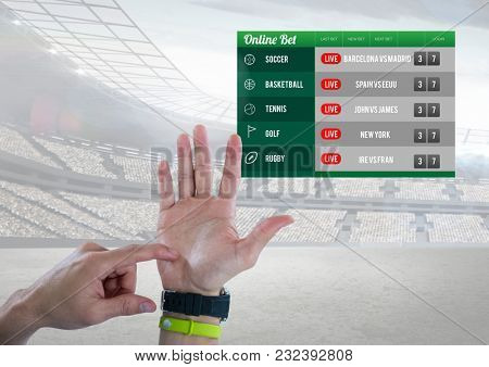 Digital composite of Hand counting with a Betting App Interface stadium