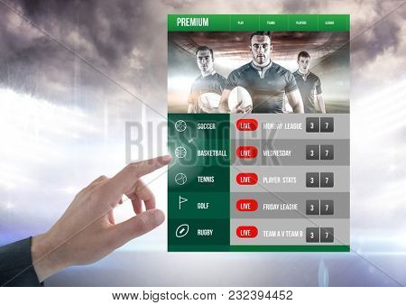 Digital composite of Hand touching a Betting App Interface Rugby stadium