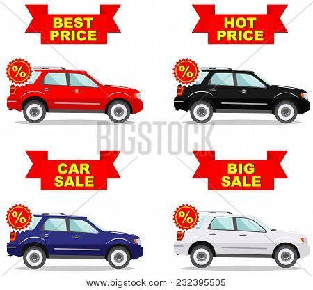 Car Showroom. Big Sale. Hot Price. Best Price. Set Of Discount Icons For Cars. Colored Business Clas