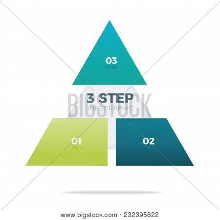 Three Step Pyramid Infographic On White Background