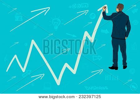 Businessman Draws A Graph, Arrow Up. Growth