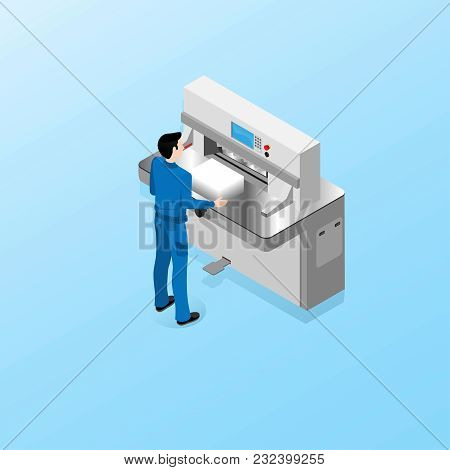 The Worker Of The Polygraphic Center Carries Out Duties Of The Operator Of A Cutting Machine, Work I