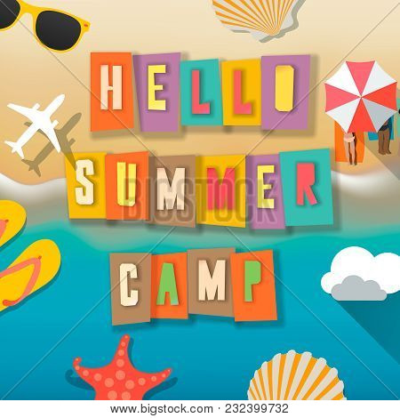 Summer Camp For Kids Poster, Summer Child's Outdoor Activities On The Beach Happy Childhood, Vector