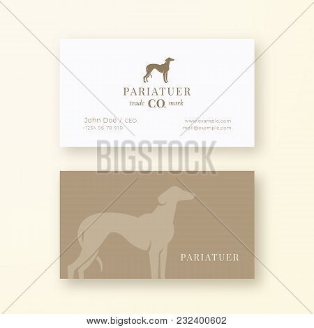 Noble Hound Abstract Vector Sign Or Logo And Business Card Template. Premium Stationary Realistic Mo