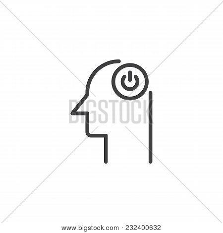 Human Head With Switch Button Outline Icon. Linear Style Sign For Mobile Concept And Web Design. Pow