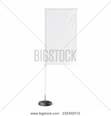 White Outdoor Panel Flag With Ground Fillable Water Base, Stander Advertising Banner Shield. Mock Up