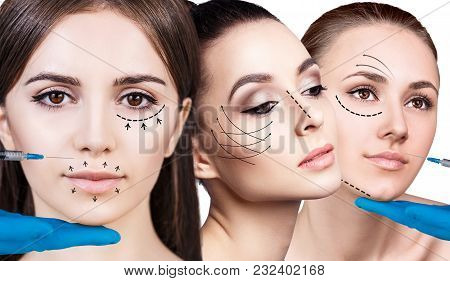 Collage Of Beautiful Woman Gets Beauty Facial Injections. Face Aging Injection. Isolated On White.