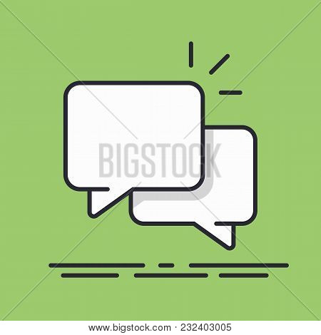 Speech Bubbles Icon Vector Line Design Isolated Background