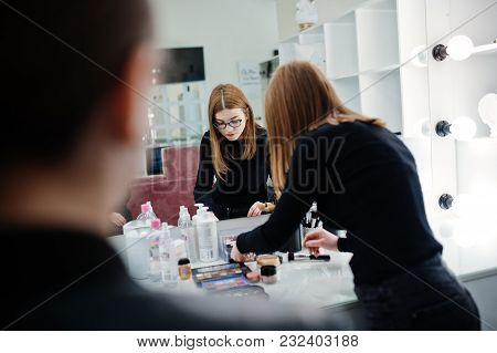 Make Up Artist Work In Her Beauty Visage Studio Salon. Woman Applying By Professional Make Up Master