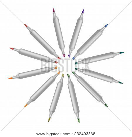 Set Of Bright Markers On A White Background. Realistic Vector Illustration. Eps 10