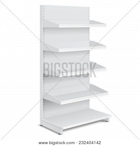 Blank Empty Showcase Display With Retail Shelves, Trading Rack. Mock Up, Template. Illustration Isol