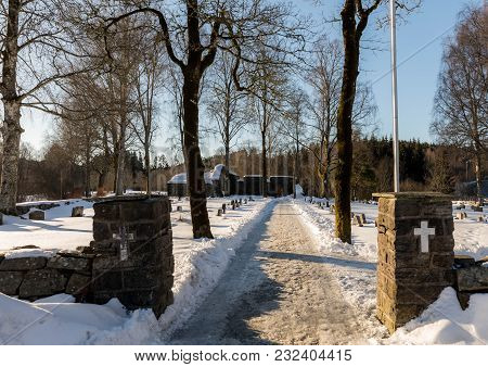 Bamble, Norway - March 17, 2018: St. Olav's Church Ruins In Bamble, Norway.